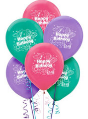 Latex Glitzy Girl Birthday Balloons 12in 6ct