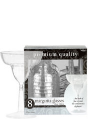 CLEAR Premium Plastic Margarita Glasses 8ct