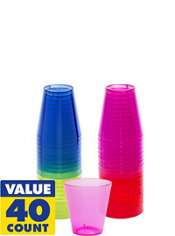 Assorted Color Plastic Shot Glasses 40ct