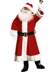 Adult Old Time Plush Hooded Santa Suit