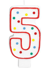 Number 5 Polka Dot Birthday Candle with Glitter 5in