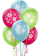 Printed Latex Hibiscus Balloons 15ct