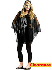 Teen Girls Ghost Face Poncho Costume - Scream