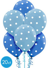 Latex Polka Dot Blue Birthday Balloons 15ct
