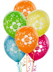 Latex Flower Birthday Printed Balloons 12in 20ct