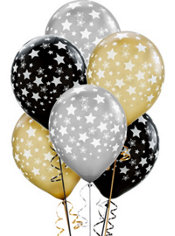 Latex Black, Gold and Silver Star Printed Balloons 12in 20ct