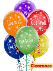 Latex Get Well Printed Balloons 12in 6ct