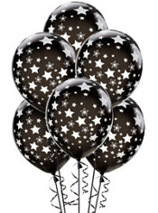 Black Star Balloons 6ct