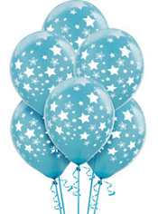 Latex Caribbean Star Printed Balloons 12in 6ct