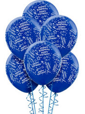 Royal Blue Birthday Balloons 6ct - Confetti