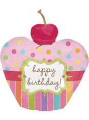 Foil Sweet Stuff Happy Birthday Cupcake Balloon 24in