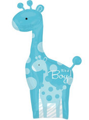 Foil Giant Blue Wild Safari Baby Shower Balloon 42in