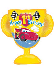 Foil Giant 1st Birthday Cars Happy Birthday Balloon 27in