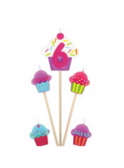 Number 6 Birthday Candle and Cupcakes 5ct