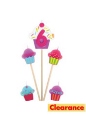 Number 6 Cupcake Birthday Toothpick Candles 5ct