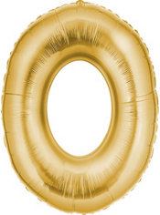 Number 0 Metallic Gold Foil Balloon 34in