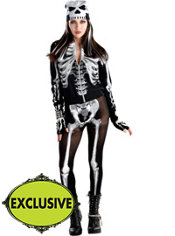 Adult Punk Black & Bone Skeleton Costume