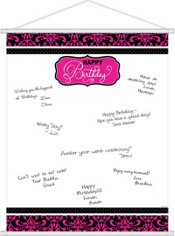 Black & Pink Birthday Sign-In Sheet
