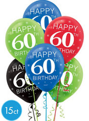Celebrate 60th Birthday Balloons 15ct