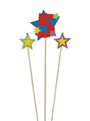 Number 5 Birthday Candle and Stars 3ct