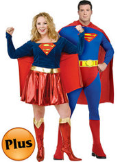 Plus Size Superman and Plus Size Supergirl Couples Costumes