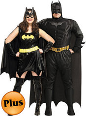 Plus Size Batgirl and Deluxe Plus Size Dark Knight  Batman Muscle Couples Costumes