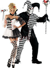 La Belle Harlequin and Black and White Evil Jester Couples Costumes