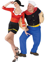 Sexy Olive Oyl and Popeye Couples Costumes