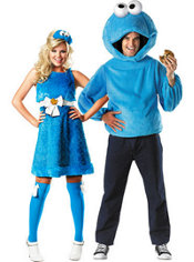 Sassy Cookie Monster and Cookie Monster Sesame Street Couples Costumes