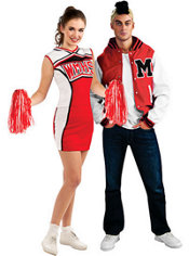 Cheerios Cheerleader and Puck Glee Couples Costumes