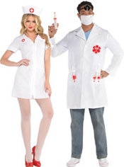 Hospital Honey Nurse and Dr. Shots Doctor Couples Costumes