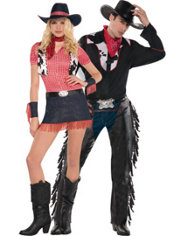 Rawhide Cowgirl and Cowboy Outlaw Couples Costumes