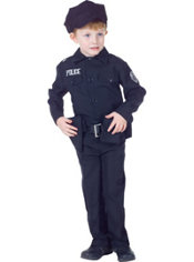 Boys Black Police Officer Costume Deluxe