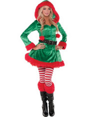 Adult Green Sassy Elf Costume