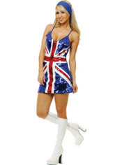 Adult Union Jack Sequin Dress Costume