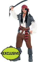 Adult Castaway Captain Pirate Costume