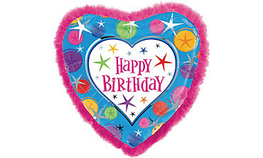 Foil Heart Happy Birthday Balloon with Boa 32in
