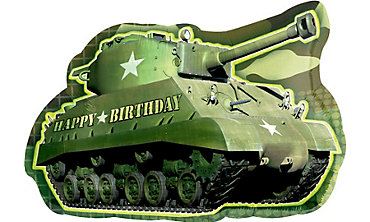 Foil Camouflage Tank Birthday Balloon 26in