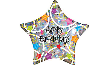 Foil Star Holographic Happy Birthday Balloon 32in