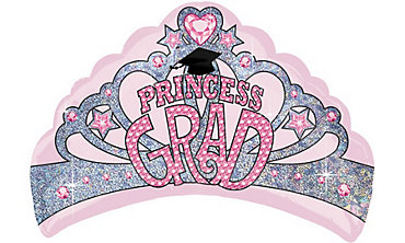 Foil Grad Princess Crown Graduation Balloon