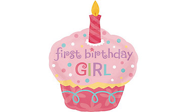 Foil Cupcake Girl Balloon 29in x 36in