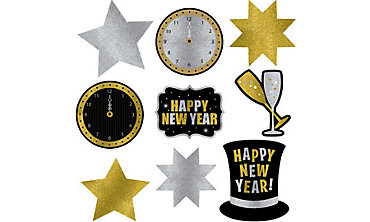 Glitter New Year's Cutouts 9ct