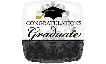 Foil Large Black & White Graduation Balloon 31in