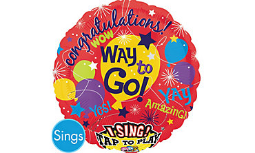 Foil Fame Congratulations Singing Balloon 28in