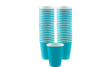 Caribbean Blue Paper Coffee Cups 12oz 40ct