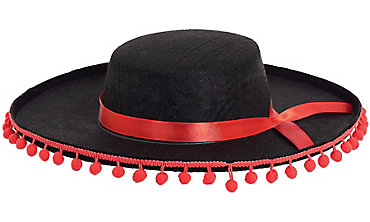 Black Spanish Hat with Ball Fringe