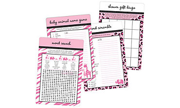 Pink Safari Baby Shower Game Kit for 20