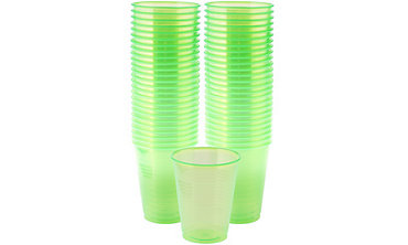 Black Light Neon Green Plastic Cups 50ct