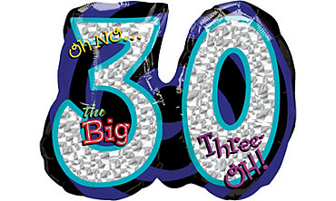 Foil Oh No the Big 30 Number Balloon 27in