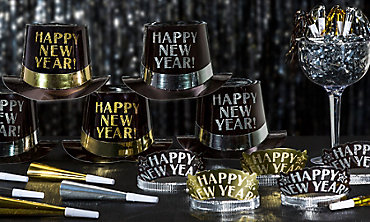 Black, Silver & Gold New Years Party Kits